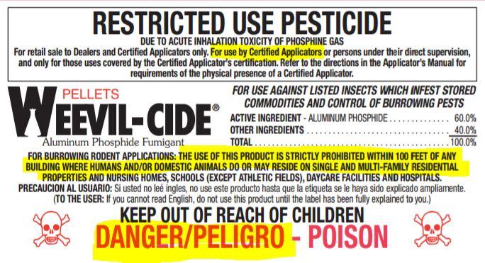 Weevil-cide Label Highlighted