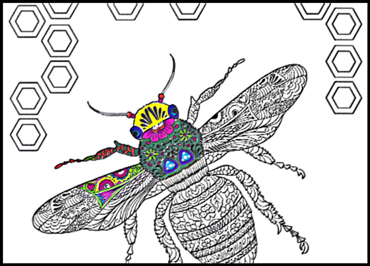 Thrasher Bee Coloring Page Sample